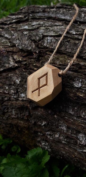Wooden pendant Any rune