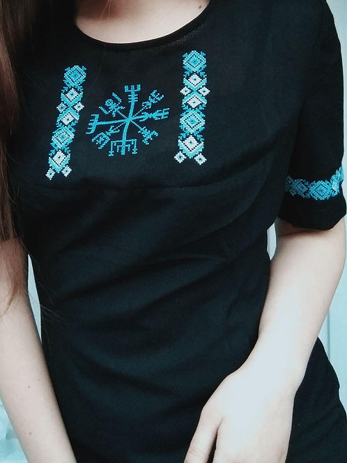 Black dress with blue Vegvisir embroidery