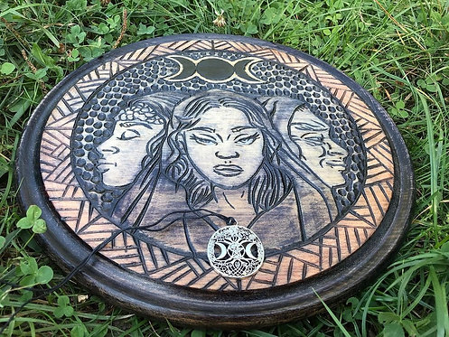 Three-faced goddess Hecate altar
