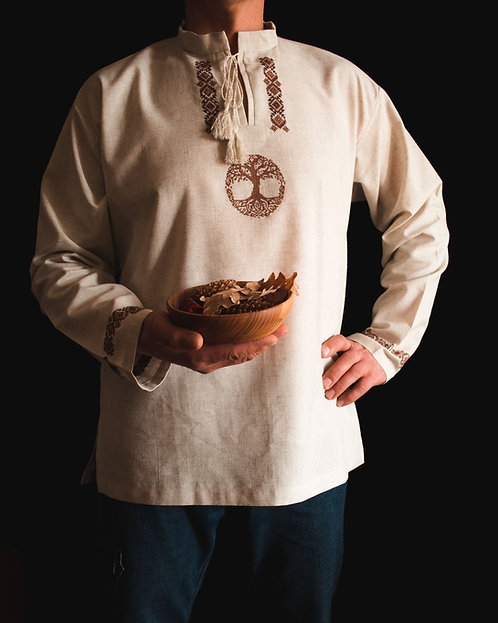 Yggdrasil linen shirt with brown embroidery
