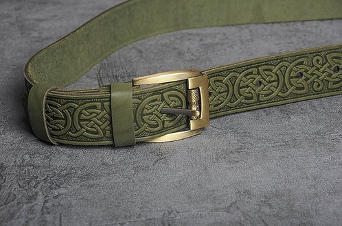 Green Celtic leather belt