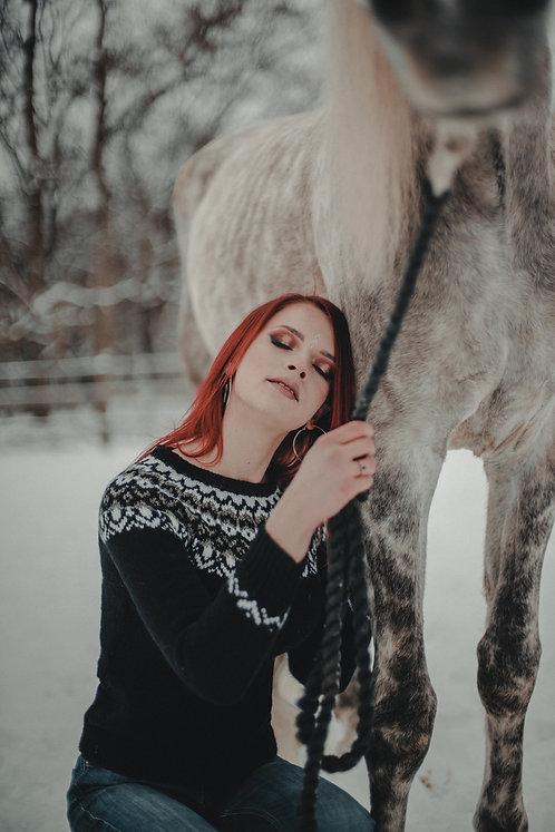 Black traditional Icelandic sweater