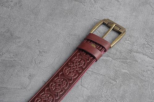 Celtic pattern leather belt