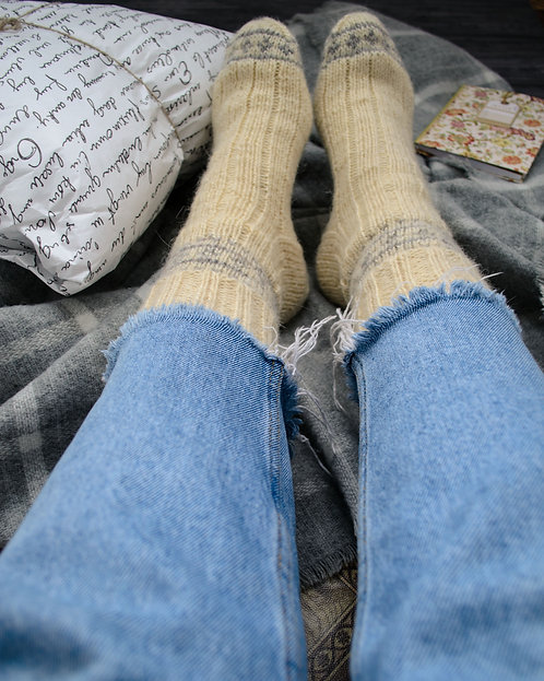 White woolen socks