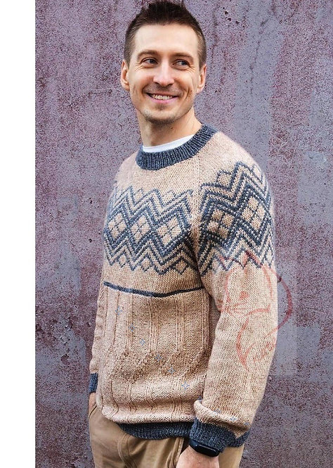 Men's sweater in natural colour