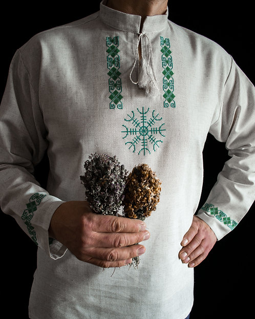 Linen Helm of awe shirt with total green embroidery