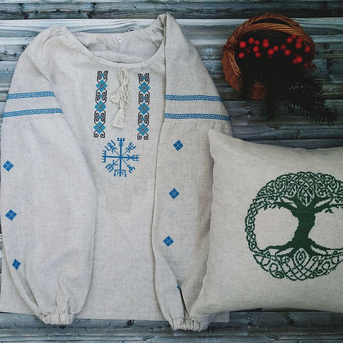 Linen shirt with blue Vegvisir