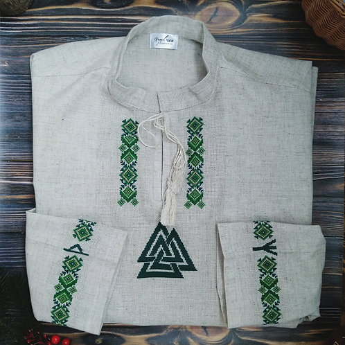 Valknut shirt with green embroidery and runes