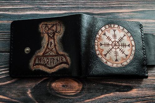 Mjolnir leather wallet Both sides