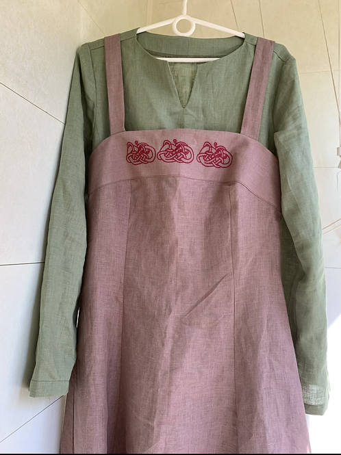 Set viking dress and apron with embroidery