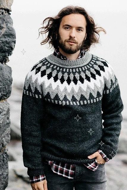Grey Icelandic traditional sweater