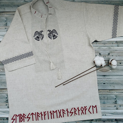 Linen short sleeves shirt with red runes on the bottom