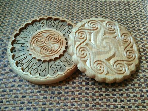 Runic handmade wooden set Celtic knot