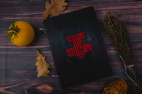 Thor's hammer wooden notebook with embroidery