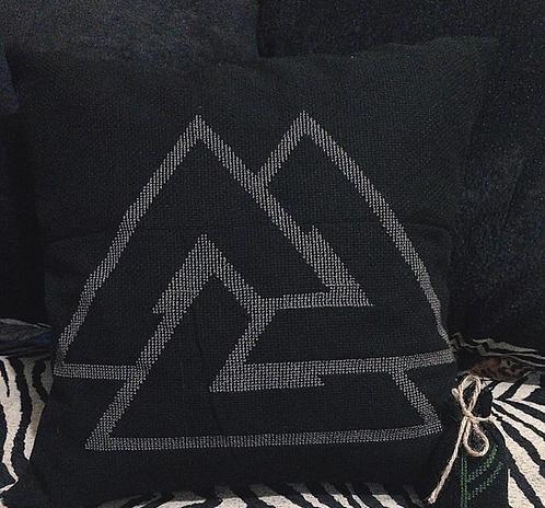 Valknut black pillow