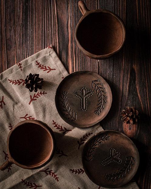 Set Ceramic Espresso 2 Cups + 2 Plates e