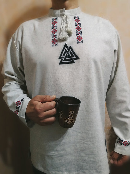 Linen shirt with black Valknut and red embroidery