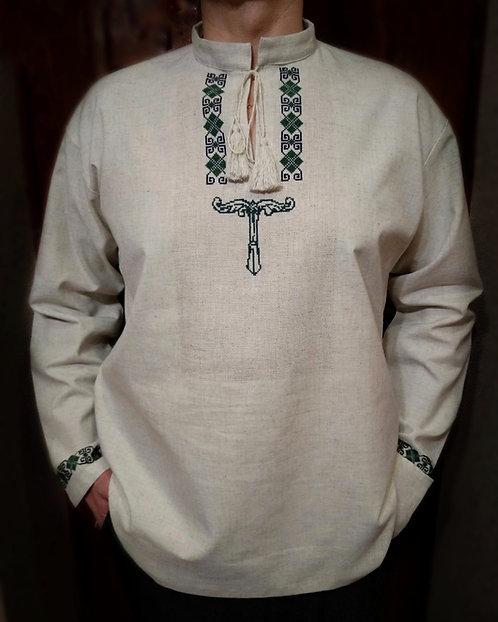Linen shirt with dark green Irminsul