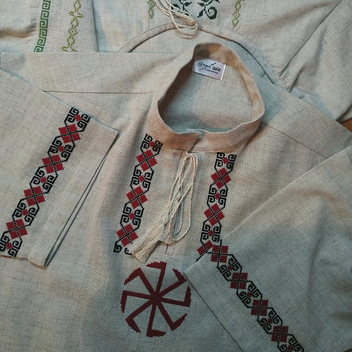 Linen shirt with red Kolovrat embroidery