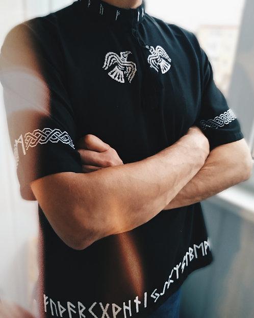Runic black shirt with ravens