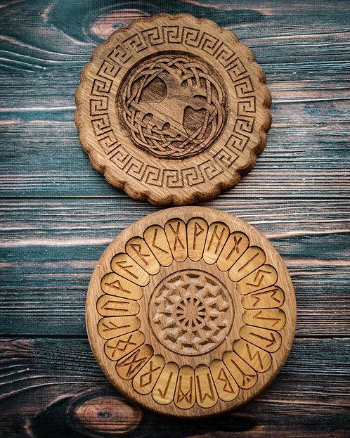 Runic handmade wooden set Black sun