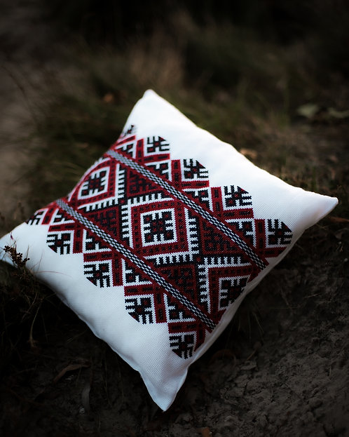 Embroidered pillow with Slavic pattern