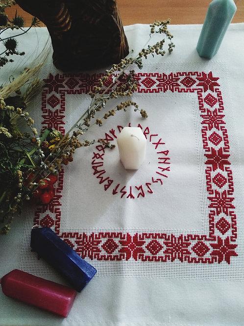 White runic altar cloth