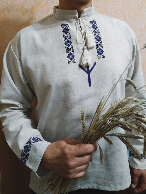 Linen short with blue Algiz embroidery