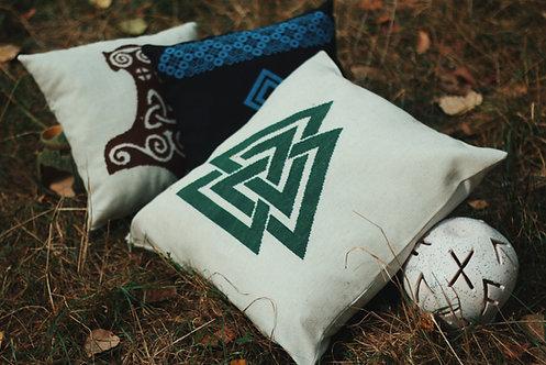 Valknut Handcrafted pillow in dark green