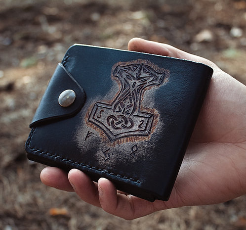 Thor's hammer with runes wallet