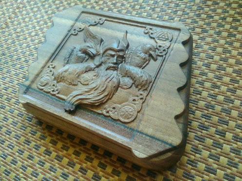 Runic handmade wooden set Odin