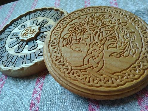 Runic handmade wooden set Yggdrasil