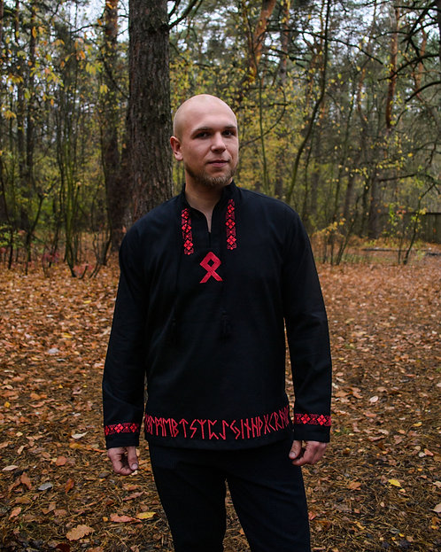 Othala Black runic Shirt with red embroidery