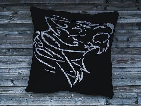 Big Fenrir embroidered pillow