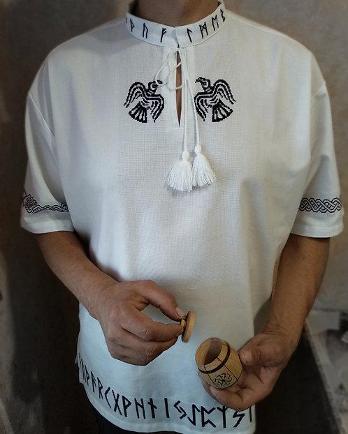Runic white short sleeves shirt with ravens