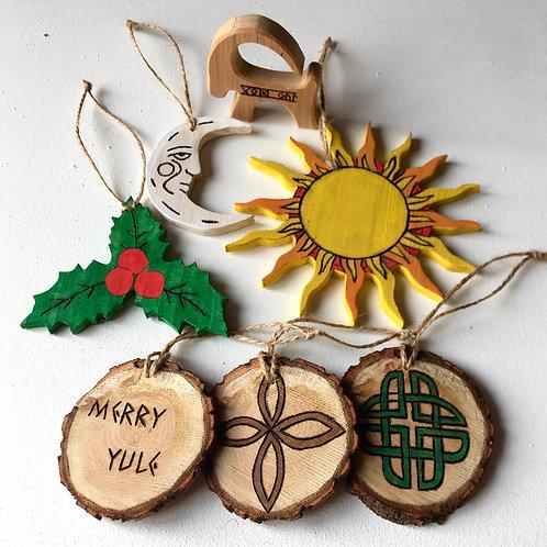 Set of 7 Magical  Yule wooden Symbols