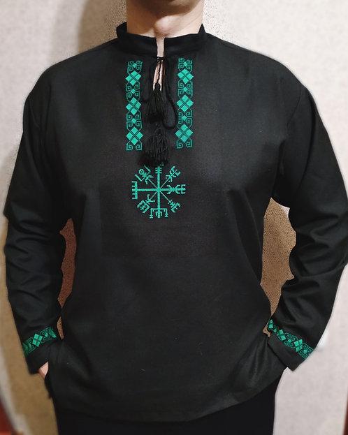 Black shirt with green Vegvisir