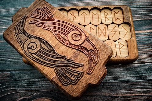 Runic handmade wooden set Hugin and Munin