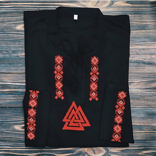 Valknut shirt with traditional red embroidery