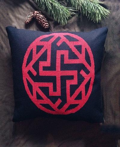 Big Valkyria Slavic symbol pillow