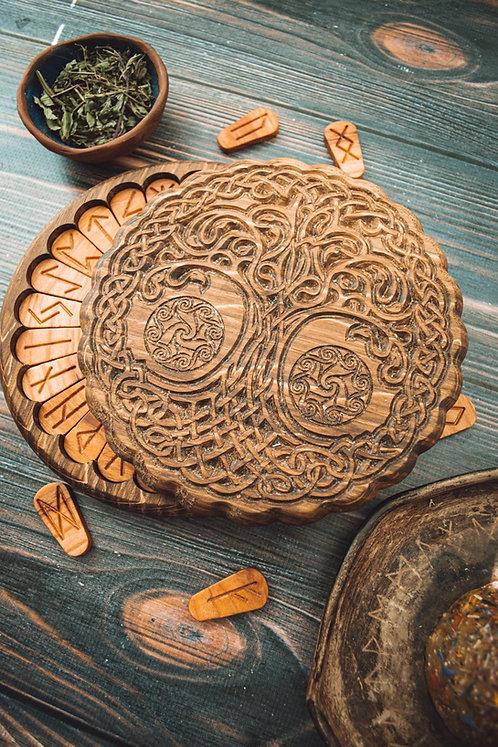 Runic Yggdrasil handmade set