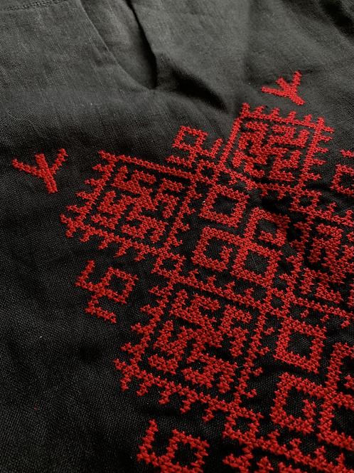 Slavic long embroidered dress