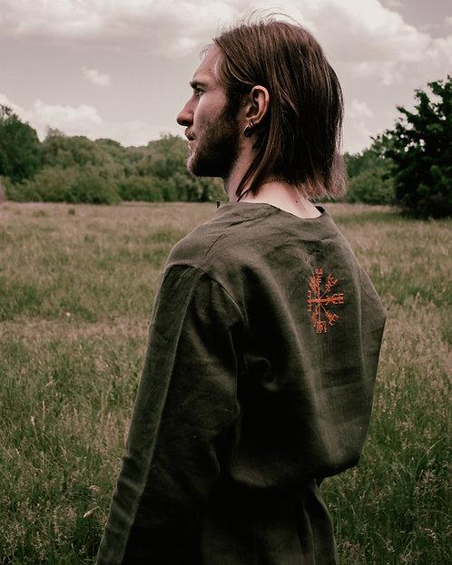Viking linen dark green shirt