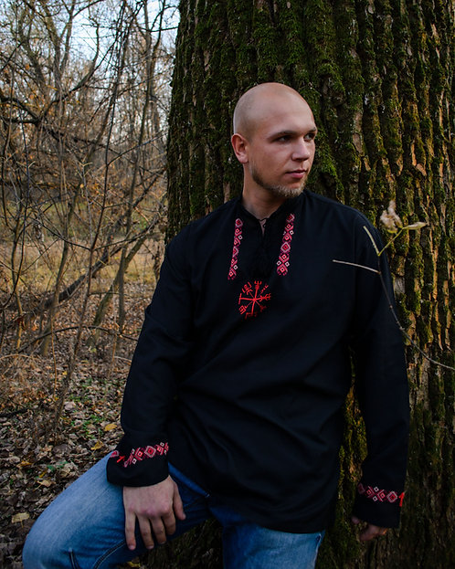 Vegvisir Black Shirt with traditional embroidery