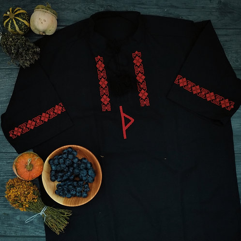 Black shirt with red Thurisaz rune