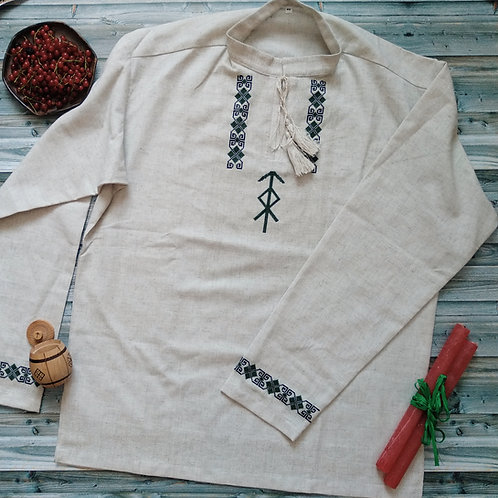 Traditional linen with runic staves