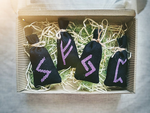 Black set of aromabags with natural herbs