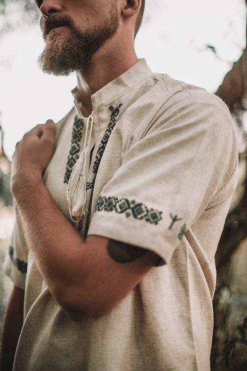 Linen shirt with  green Irminsul