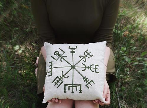Vegvisir dark green embroidered pillow