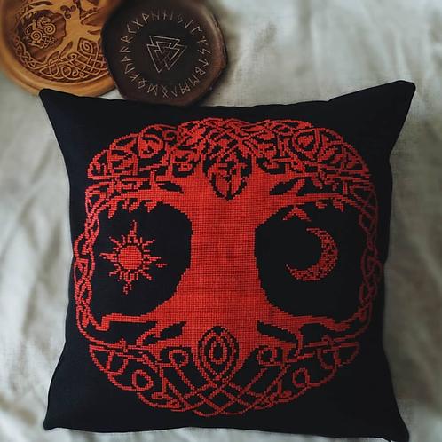 Big Yggdrasil embroidered pillow